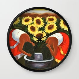 Two women in sunflower fields by Diego Rivera Wall Clock