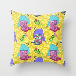 Ready for Rain - Wellies and Ellies! Throw Pillow