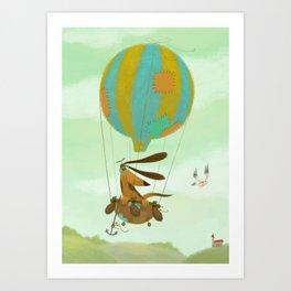 Doggy in airballoon Art Print