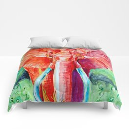 Elephant in Red Watercolor Comforters
