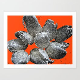 TULIPS ON ORANGE CANVAS Art Print