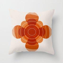 Earthy Red Scandinavian Floral Design Throw Pillow