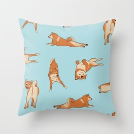 Shiba Inu Print Blue Throw Pillow