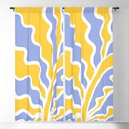 Deco Tropico Line-art Foliage Nº 1.2 Yellow and Blue Blackout Curtain