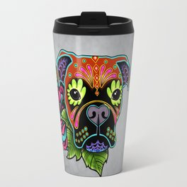 Boxer in Fawn - Day of the Dead Sugar Skull Dog Travel Mug
