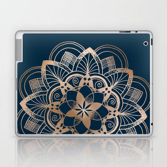 Lotus metal mandala on blue Laptop & iPad Skin