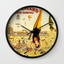 The Great Coney Island Water Carnival – Barnum & Bailey Circus Poster Wall Clock
