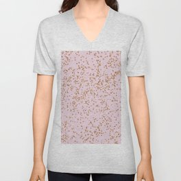 Rose gold diamond confetti Unisex V-Neck