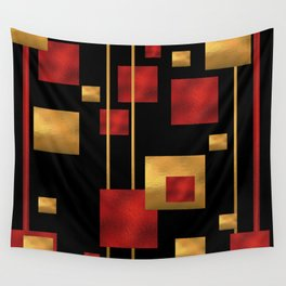 Red and Gold Foil Blocks Wall Tapestry