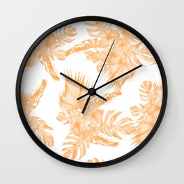 Island Vacation Hibiscus Palm Coral Orange Wall Clock