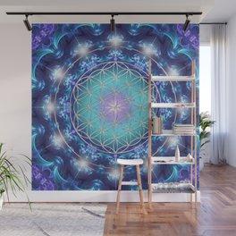 Flower Of Life Mandala Fractal turquoise Wall Mural