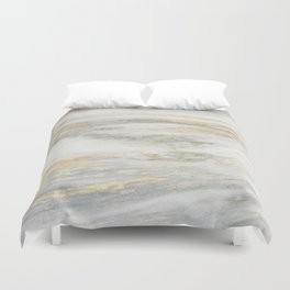 White Gold Marble Texture Duvet Cover
