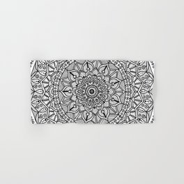Circle of Life Mandala Black and White Hand & Bath Towel