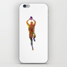 Rugby man player 04 in watercolor iPhone Skin