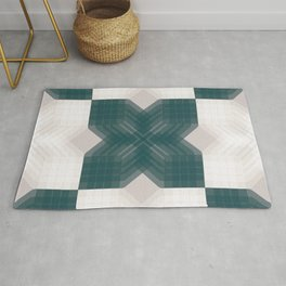 Green and White Opaque Intersections  Rug