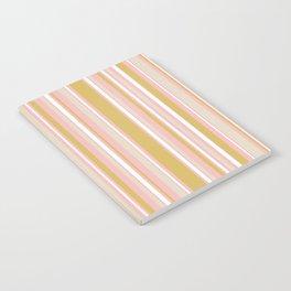 Splendid Stripes - Retro Modern Stripe Pattern in Gold, Pink, White, and Mushroom Notebook