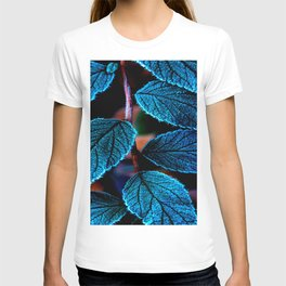Peacock Blue Leaves Nature Background #decor #society6 #buyart T-shirt