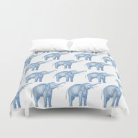 elephants Duvet Covers featuring Elephants  by Emily Lanier
