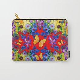 RED GARDEN  PURPLE FLOWERS YELLOW BUTTERFLIES Carry-All Pouch