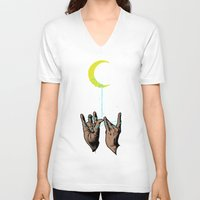 the moon V-neck T-shirts featuring MOON by GENO