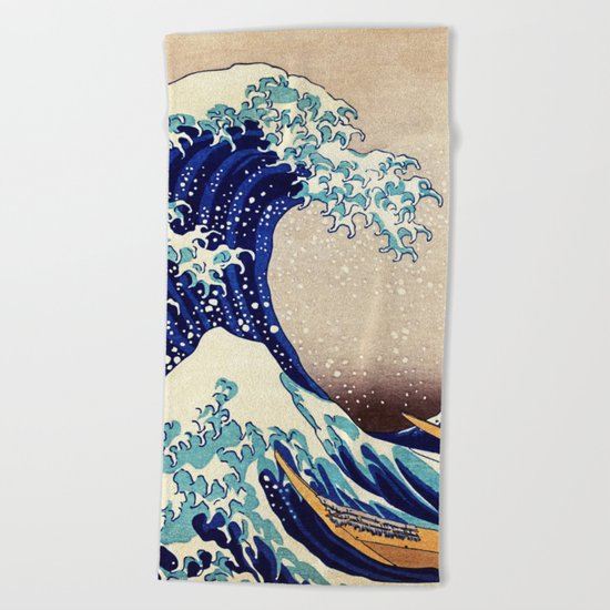 Katsushika Hokusai The Great Wave Off Kanagawa Beach Towel