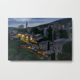 Night Mostar city Metal Print