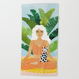 Meditation With Thy Cat #illustration #painting Beach Towel
