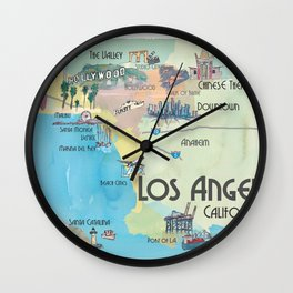 Greater Los Angeles Fine Art Print Retro Vintage Map with Touristic Highlights in colorful retro pri Wall Clock