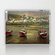 Three Red Boats at Staithes Laptop & iPad Skin