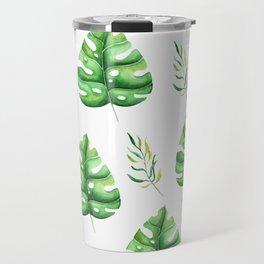 Green Split Leaf Seamless Pattern Travel Mug