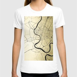 Bangkok Thailand Minimal Street Map - Gold Metallic and Black T-shirt