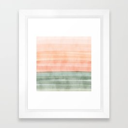 Soft Green Waves on a Peach Horizon, Abstract _watercolor color block Framed Art Print