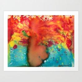 Woman On Fire Art Print