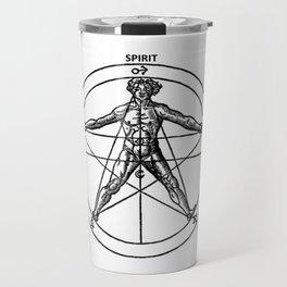 Three books of occult philosophy - man inscribed in a pentagram Travel Mug