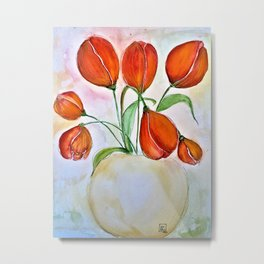 Tulips EnVogue-Barbara Chichester Metal Print