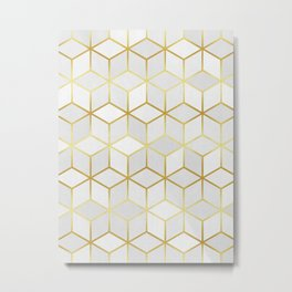 Pattern of squares with gold Metal Print