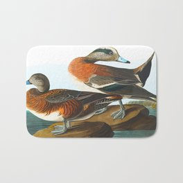 American Wigeon Audubon Birds Vintage Scientific Hand Drawn Illustration Bath Mat