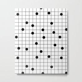 Dot Grid map art print black and white minimal modern pop trendy urban brooklyn design streets new y Metal Print