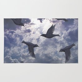 crows in the stormy sky Rug