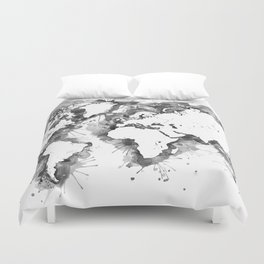 Watercolor splatters world map in grayscale Duvet Cover