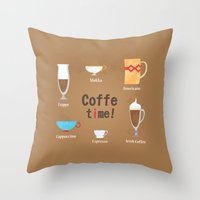 coffe Throw Pillows featuring Coffe Time! by Olga  Varlamova