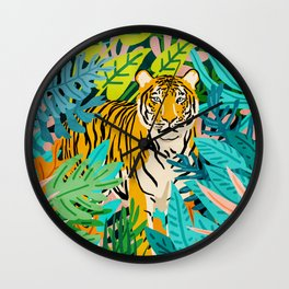 Only 3890 Tigers Left, Wildlife Vibrant Tiger Painting, Jungle Nature Colorful Illustration Wall Clock