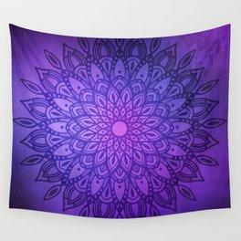 Dark Mandala on Purple, Pink and Navy Wall Tapestry
