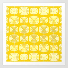 Mid Century Modern Atomic Rings Pattern Yellow Art Print
