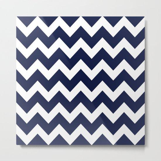 Chevron Navy Blue Metal Print