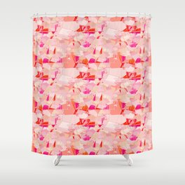 Mid-Century Modern Abstract, Coral Pink and Fuchsia Shower Curtain