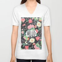 preppy V-neck T-shirts featuring Pastel preppy flowers Hello typography chalkboard by Girly Trend