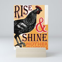 Rise and Shine Mother Cluckers | Rooster at Dawn | Vintage Roosters and Chickens | Mini Art Print