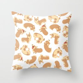 Corgi party Throw Pillow