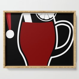 Mulled wine Christmassy with Santa Claus cap Serving Tray